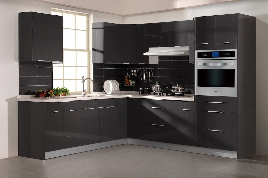 Glossy Grey Cabinets