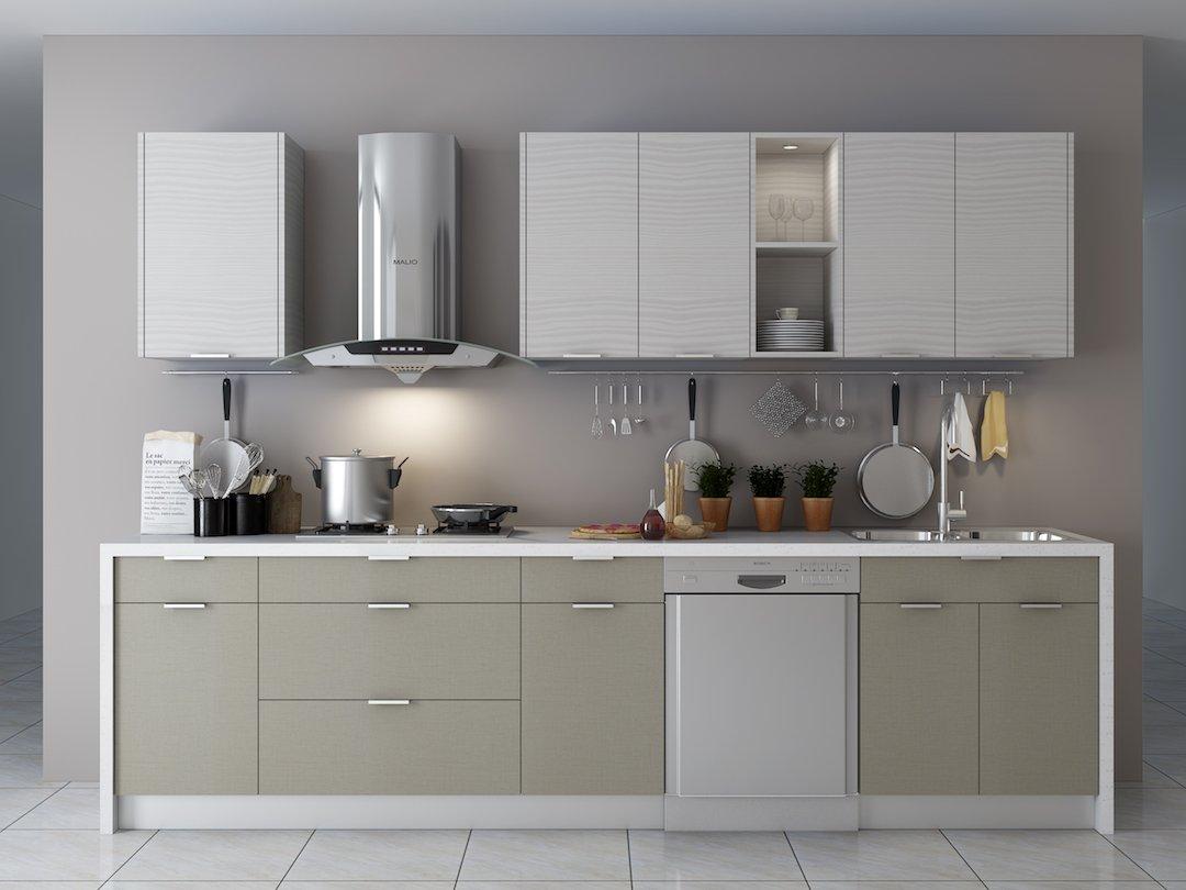 Pale Pine Cabinets + Fabric Grey Island