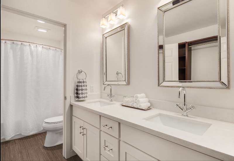 White Bathroom Remodel Abs Cabinets Counters Seattle Bellevue Lynnwood